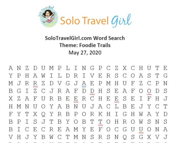Looking for Things to do Under Quarantine? How About a Word Search? This Week's Theme: Foodie Trails.