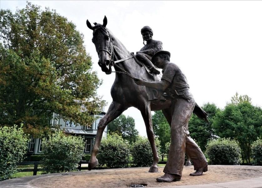 A life-size bronze sculpture of Secretariat at the Kentucky Horse Park in Lexington, Ky., Aug. 2019,