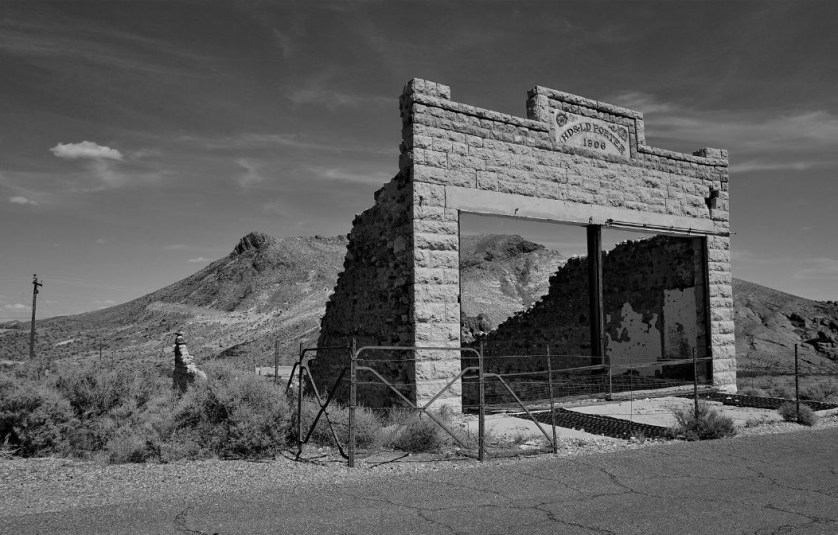 Porter Brothers' Store Ruins in Historic Rhyolite, a Ghost Town in Nevada, July 2019.
