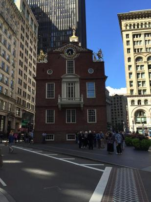 "Old State House - Here in 1761, James Otis railed against the Writs of Assistance in a fiery speech that ignited the colonists' rebellion. John Adams declared, ""Then and there the child independence was born"""