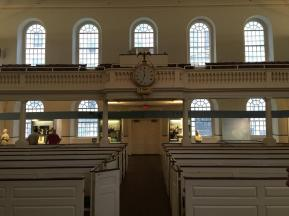 the Old South Meeting House, a very austere Puritanical house of worship where the plans for the Boston Tea Party were discussed