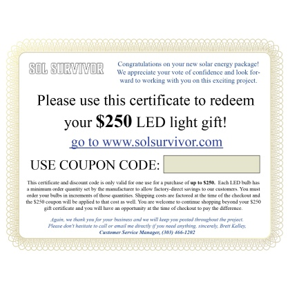 LED Gift Certificates for your customers
