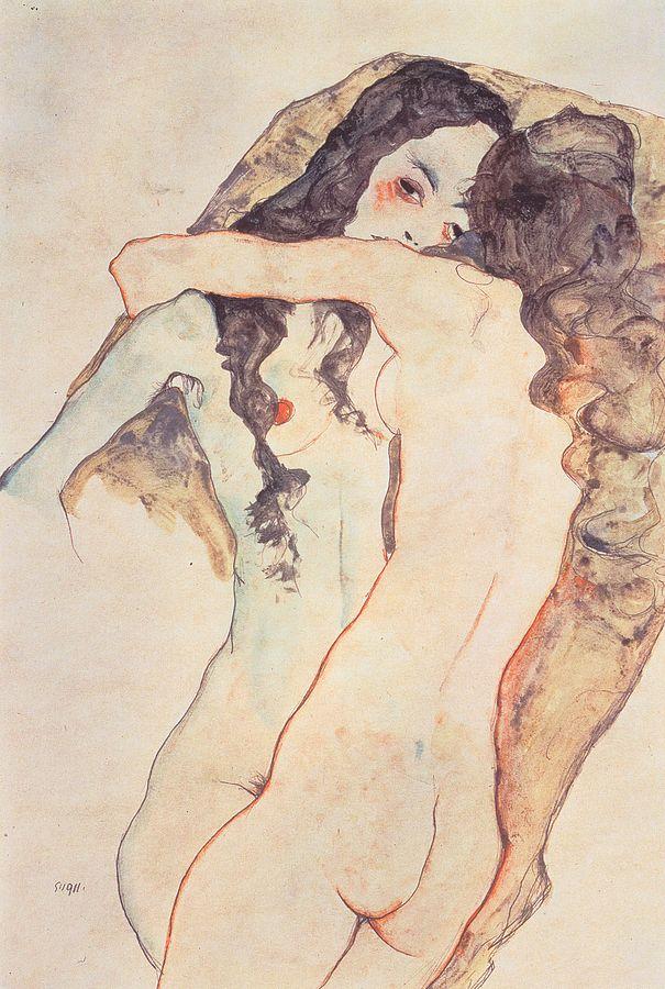 Deux jeunes prostituées enlacées - dessin d'Egon Schiele
