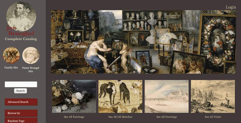 Page d'accueil du site internet Jan Brueghel - exposition virtuelle