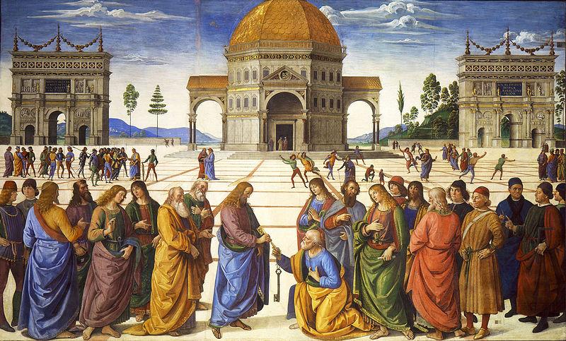 Tableau de la chapelle Sixtine au Vatican à Rome : la remise des clefs à saint Pierre