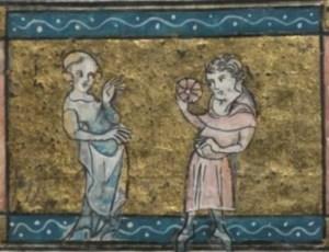 L'Amant baise la Rose devant Bel Accueil (fol. 26v)