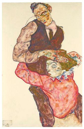 Autoportrait d'Egon Schiele avec Wally entre 1914 et 1915