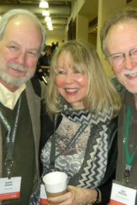 Solstice lit mag at AWP: (L to R) Richard Hoffman, nonfic editor; Lee Hope, editor-in-chief; Clint McCown, author.
