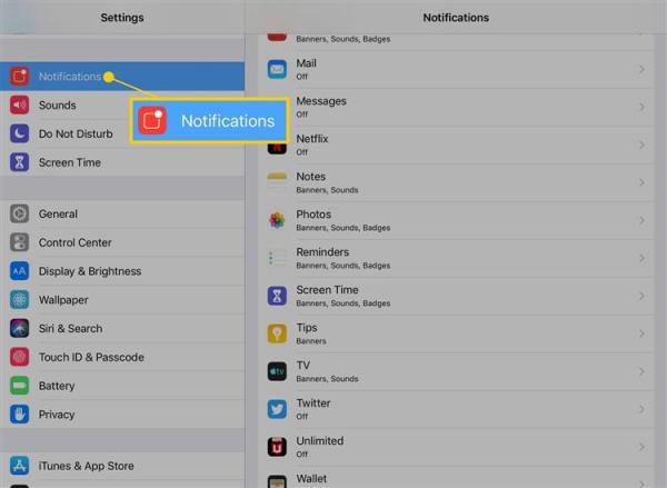 Как удалить советы и другие приложения из уведомлений на iPad