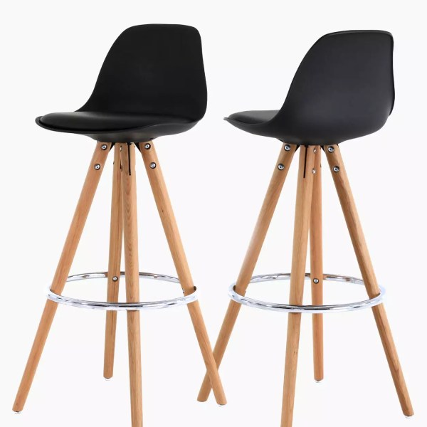 Chaises de bar cir-cha noir - Lot de 2