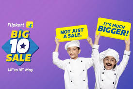 Flipkart Big 10 Sale 14 to 18 may – Get Up to 90% Discount + 15% off via HDFC Credit Card