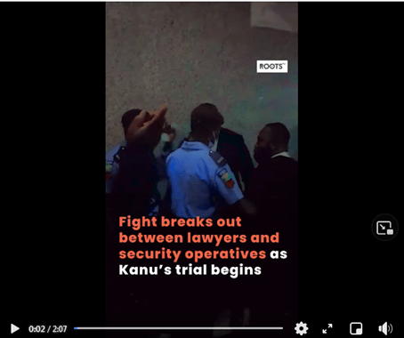 Fight Break Out Between Lawyers and Police at Nnamdi Kanu Trial Begins (Video)