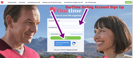 OurTime Dating Account Sign Up