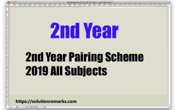 2nd Year Pairing Scheme 2019 All Subjects