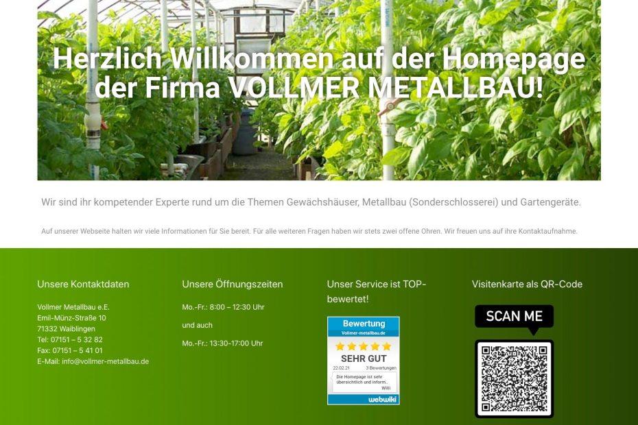 Neue Webseite von Vollmer Metallbau
