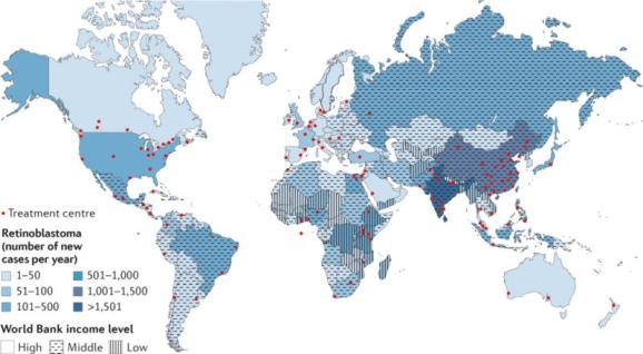 Distribution of the patients across the world