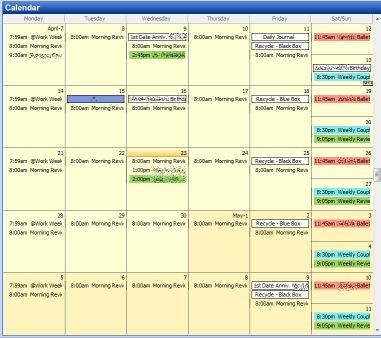 Outlook Coloured Calendar