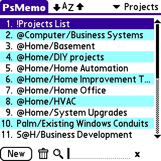 Projects list in psMemo
