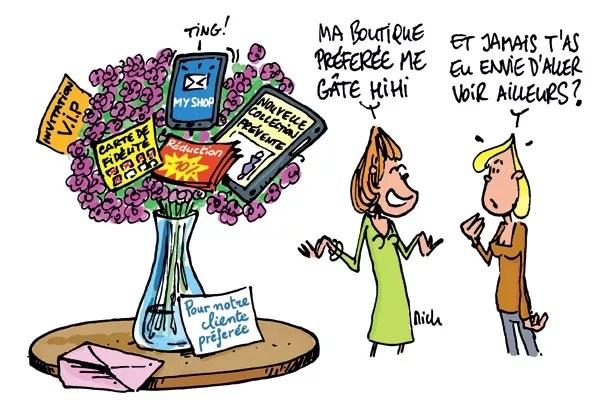 illustration d'une commercante qui vend son programme de fidelisation à un client