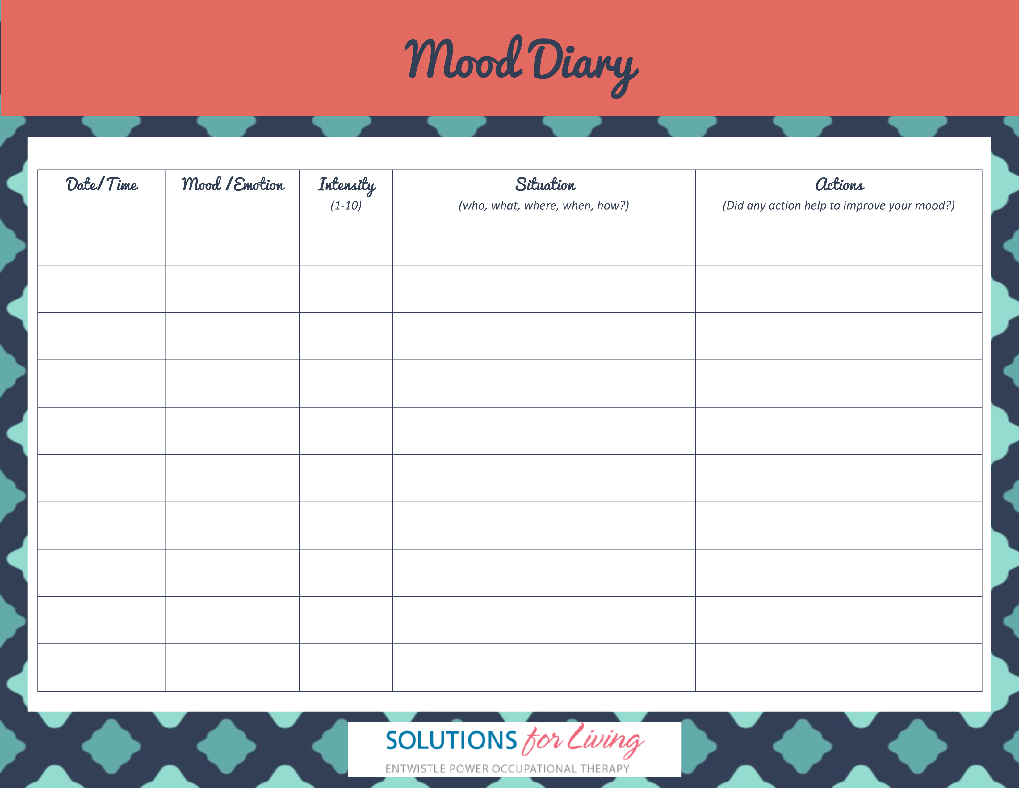 Mood Diary Solutions For Living