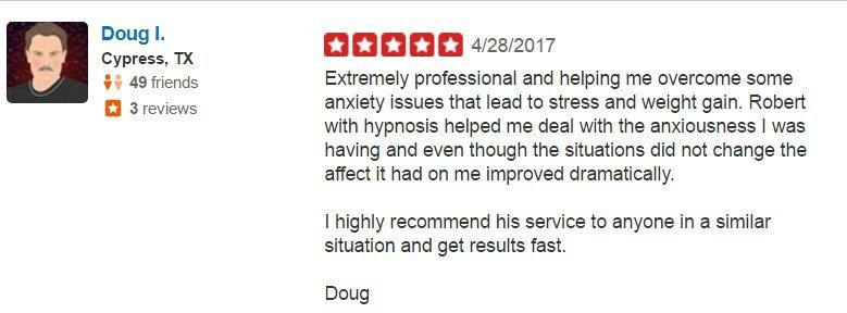 5 Star YELP Review for Anxiety Hypnosis