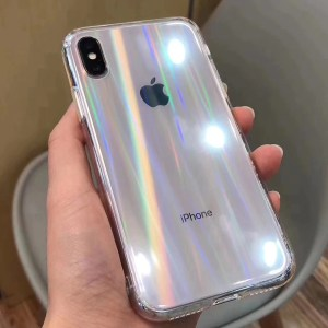 Gradient Rainbow Laser Transparent Soft Clear Acrylic Case For iPhone 11