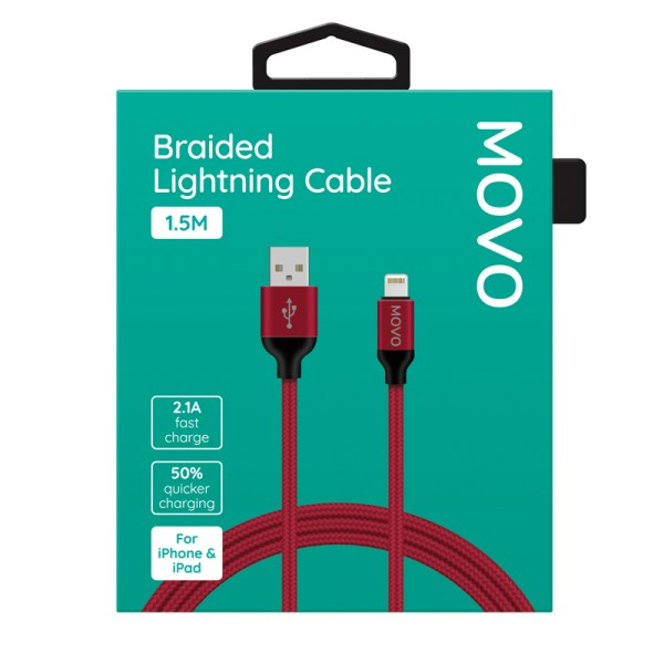 MOVO Apple Lightning Cable Braided Fast Charge 150cm Red