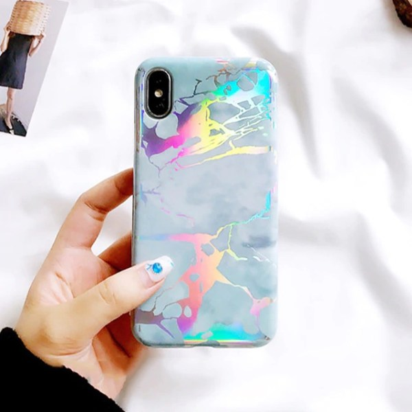 Glossy Goldlines Marble Phone Case For iPhone 7 Plus/8 Plus