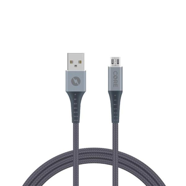 CORE Micro USB Cable Braided 150cm Fast Charge Grey