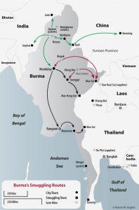 India_Meghalaya_Imphal_China_Thailand_Bangkok_Drug_Trade_Gems_Smuggle_South_Asia_Routes_burma_border_map