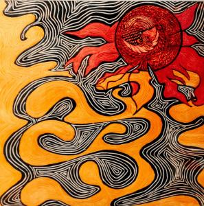 Yellow_Sun_Bird_Random_Modern_Art_woodcut_Paintings_Akshita Aggarwal