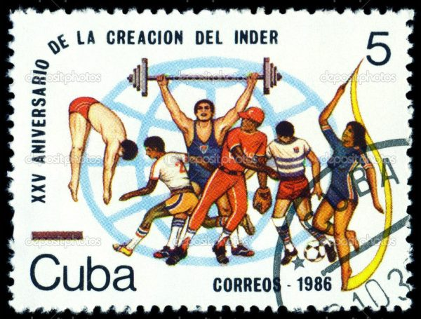 Vintage postage stamp. Sports. Cuba.