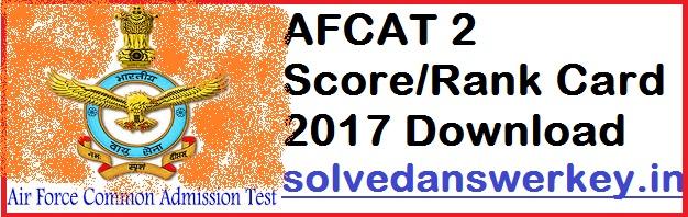 AFCAT 2 Score Rank Card 2021