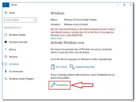 Windows 10 Activation Troubleshooting Menu