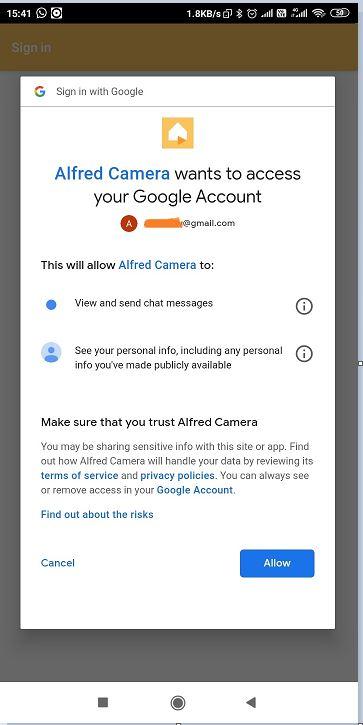 Alfred Camera Google Login