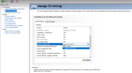 NVIDIA Control Panel-Manage 3D Setting