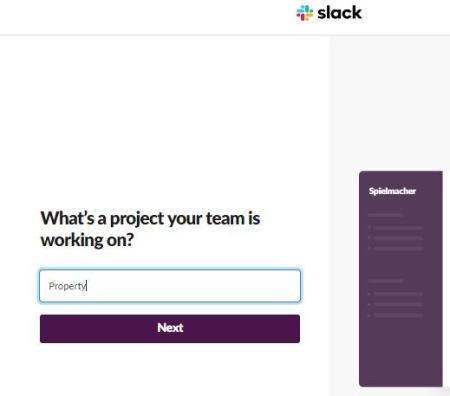Create Slack Workspace-Enter Project Name