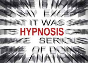 The word hypnosis surrounded by blurry words