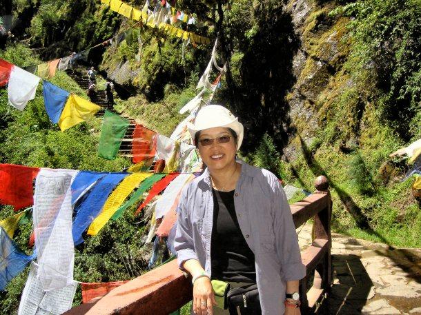 Waterfall footbridge - Bhutan