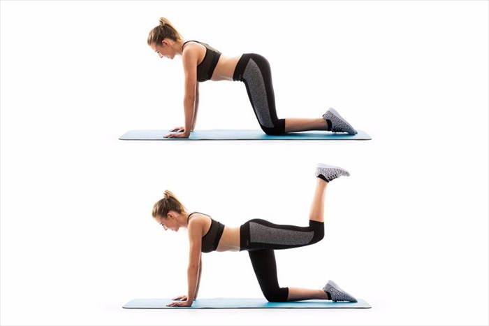 glutes exercise- quadruped extensions