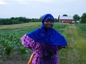 Somali Bantu woman in the field at Liberation Farms