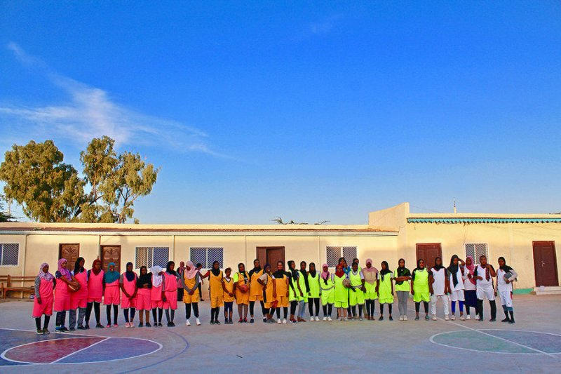Players in a girls' basketball program in Hargeisa