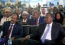 Somalia's President Mohamed Abdullahi Farmaajo and Kenya's President Uhuru Kenyatta listen to speeches during Farmaajo's inauguration ceremony in Somalia's capital Mogadishu [Feisal Omar/Reuters]