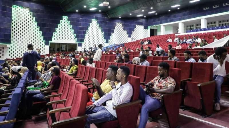 Filmgoers had to pass through several checkpoints to reach the theatre