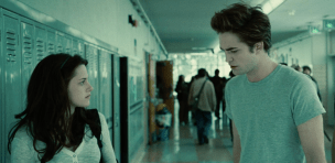 Bella & Edward in the School hallway continuing their conversation from biology class.