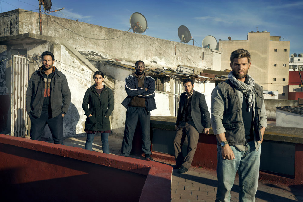 "THE BRAVE -- Season: Pilot -- Pictured: (l-r) Hadi Tabbal as Agent Amir Al-Raisani, Natacha Karam as Sergeant Jasmine ""Jaz"" Khan, Demetrius Grosse as CPO Ezekiel ""Preach"" Carter, Noah Mills as Sergeant Joseph ""McG"" McGuire, Mike Vogel as Captain Adam Dalton -- (Photo by: Jeff Riedel/NBC)"