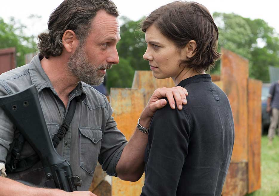 Rick Grimes (Andrew Lincoln) and Maggie Greene (Lauren Cohan) in Episode 1 The Walking Dead Photo credit: Gene Page/AMC