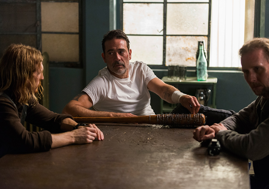 Dwight (Amelio Austin), Negan (Jeffrey Dean Morgan) and Gavin (Jayson Warner Smith) in Episode 5 Photo credit: Gene Page/AMC
