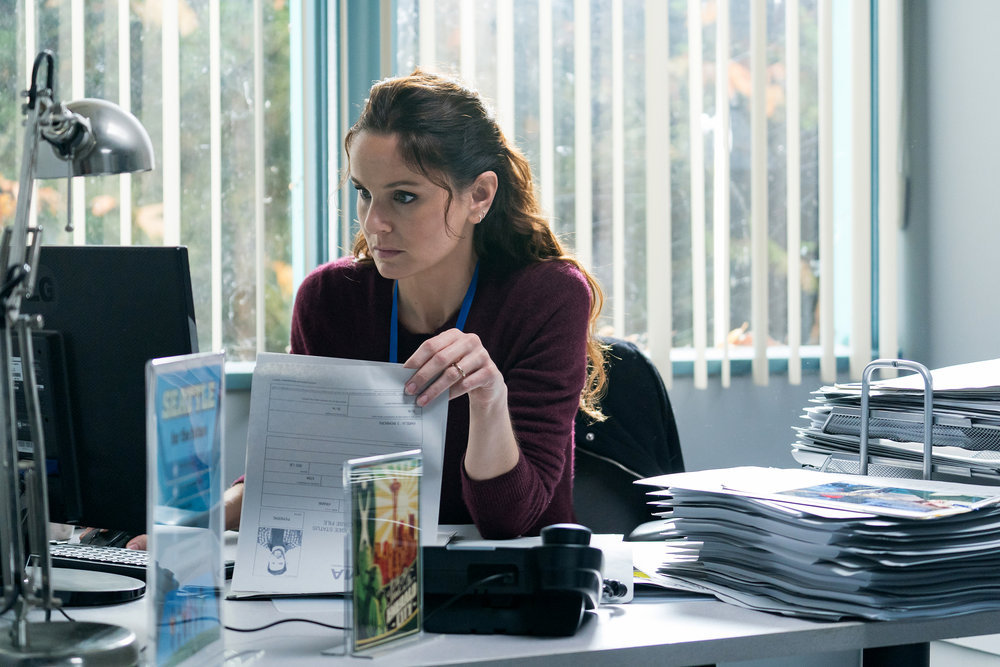 "COLONY -- ""A Clean, Well-Lighted Place"" Episode 307 -- Pictured: Sarah Wayne Callies as Katie Bowman -- (Photo by: Daniel Power/USA Network)"