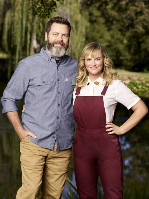 MAKING IT -- Season: 1 -- Pictured: (l-r) Nick Offerman, Amy Poehler -- (Photo by: Chris Haston/NBC)